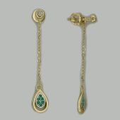 Серьги Викс с цепочкой и капельками с изумрудами и бриллиантами, желтое золото