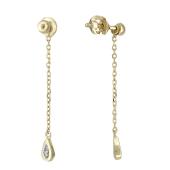 Серьги-пусеты длинные с бриллиантовой каплей, желтое золото