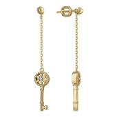 Серьги Викс Ключик на цепочке с бриллиантами, желтое золото