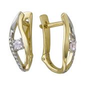 Серьги Волна с сапфирами и бриллиантами, желтое золото