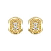 Серьги-пусеты с бриллиантом из желтого золота 585 пробы