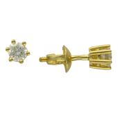 Серьги-гвоздики с бриллиантом в классическом креплении, желтое золото 750 проба