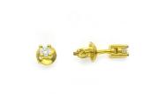 Серьги с бриллиантами и четырьмя усиками, желтое золото 750 проба