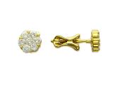 Серьги Цветок с бриллиантами, по семь бриллиантов, желтое золото, 750 проба