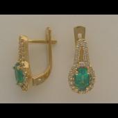 Серьги с бриллиантами и овальными изумрудами (рубинами, турмалинами), желтое золото 750 проба