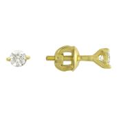 Серьги гвоздики с бриллиантами, желтое золото 750 проба