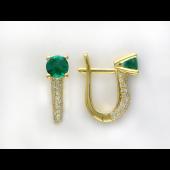 Серьги с круглыми изумрудами (сапфирами) и бриллиантами, желтое золото