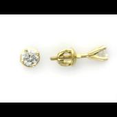 Серьги гвоздики с бриллиантами на четырех держателях, желтое золото 750 проба