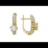 Серьги с с бриллиантами, желтое золото