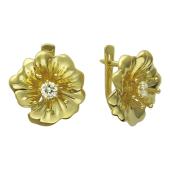 Серьги Цветы с бриллиантами, желтое золото 750 пробы