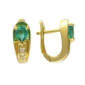 Серьги с бриллиантами и изумрудами (сапфирами), желтое золото 750 пробы