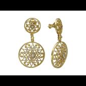 Серьги с бриллиантами, желтое золото 750 проба