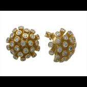 Серьги Шары с бриллиантами, желтое золото 750 проба