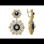 Серьги с бриллиантами, эмалью и рубинами, желтое золото 750 проба