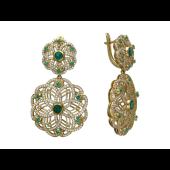 Серьги с бриллиантами и изумрудами (рубинами), желтое золото 750 проба