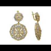 Серьги ажурные с бриллиантами, желтое золото 750 проба