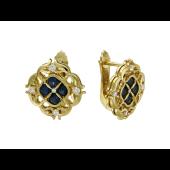 Серьги с бриллиантами и сапфирами, желтое золото 750 проба
