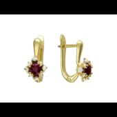 Серьги Принцесса с круглым изумрудом (рубином) и бриллиантами, желтое золото 750 проба