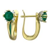 Серьги с большим круглым драгоценным камнем, эмалью и бриллиантами, желтое золото, 750 проба