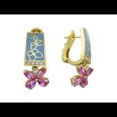 Серьги Garmoniya с фантазийными сапфирами и бриллиантами, желтое золото