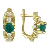 Серьги с бриллиантами и рубинами (изумрудами), желтое золото 750 проба