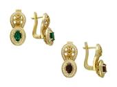 """Серьги """"Боярские"""" с бриллиантами, желтое золото, 750 проба"""