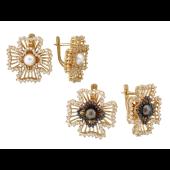 Серьги с бриллиантами и жемчугом, желтое золото 750 проба