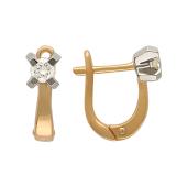 Серьги с бриллиантами в крестовом держателе, комбинированное золото