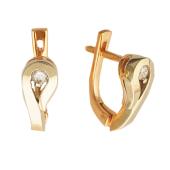 Серьги Капля с бриллиантами, комбинированное золото