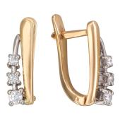Серьги Дорожка с бриллиантами, комбинированное золото
