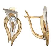 Серьги с бриллиантами, красное и белое золото