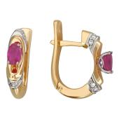 Серьги с бриллиантами и овальным сапфиром, комбинированное золото