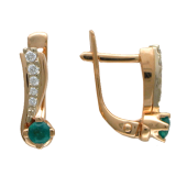 Серьги с бриллиантами и драгоценным камнем, комбинированное золото