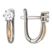 Серьги Классик с бриллиантами, комбинированное золото