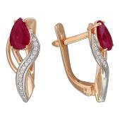 Серьги Тюльпан с бриллиантами и рубинами/сапфирами, комбинированное золото