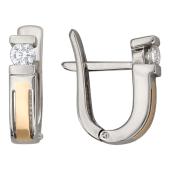 Серьги, бриллианты, комбинированное золото, 585 проба