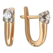Серьги с бриллиантами в необычной оправе, комбинированное золото
