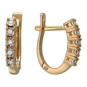 Серьги Дорожка с бриллиантами, красное и белое золото