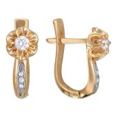 Серьги Роза с бриллиантами, комбинированное золото