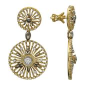 Серьги с бриллиантами, комбинированное золото