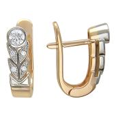 Серьги Листочки с бриллиантами, комбинированное золото