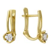 Серьги с бриллиантами, желтое и белое золото