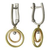 Серьги Тринити с круглыми подвесками и бриллиантами, красное желтое и белое золото