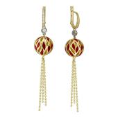 Серьги Фонарики с бриллиантами и красной эмалью, желтое и белое золото
