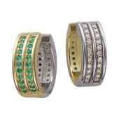 Серьги Дуэт с бриллиантами и изумрудами, желтое и белое золото