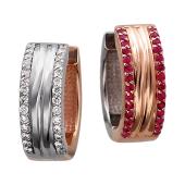Серьги Дуэт с бриллиантами и рубинами, красное и белое золото