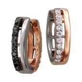 Серьги Дуэт с чёрными и прозрачными бриллиантами, красное и белое золото