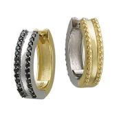 Серьги конго Дуэт с чёрными бриллиантами, желтое и белое золото пробы 585