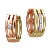 Серьги Дуэт с бриллиантами, красное и желтое золото