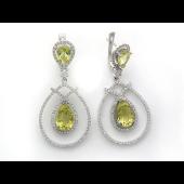Серьги Капелька с бриллиантами, кварцем и морганитом, белое золото 750 проба